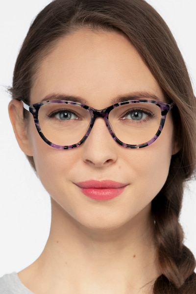 Lancet Purple Floral Acetate Eyeglass Frames for Women from EyeBuyDirect