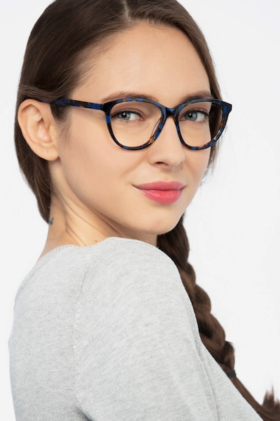Lancet Blue Floral Acetate Eyeglass Frames for Women from EyeBuyDirect, Front View