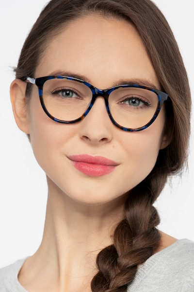 Lancet Blue Floral Acetate Eyeglass Frames for Women from EyeBuyDirect