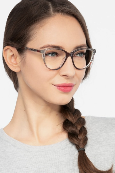 Lancet Clear Floral Acétate Montures de Lunettes pour Femmes d'EyeBuyDirect, Vue de Face