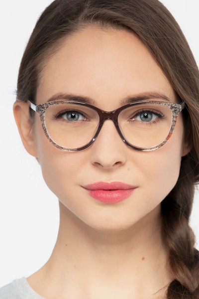 Lancet Clear Floral Acetate Eyeglass Frames for Women from EyeBuyDirect