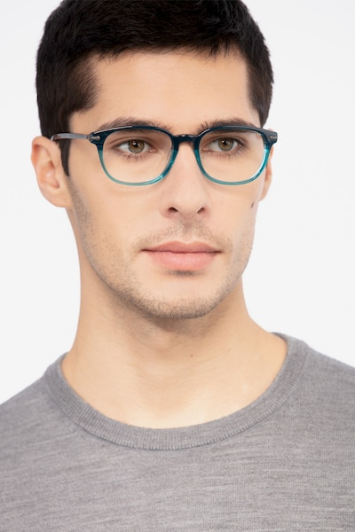 Nova Blue Striped Acetate Eyeglass Frames for Men from EyeBuyDirect, Front View
