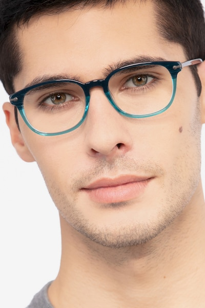Nova Blue Striped Acetate Eyeglass Frames for Men from EyeBuyDirect