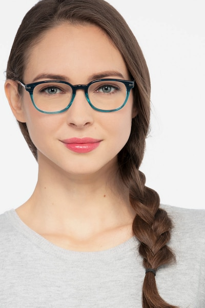 Nova Blue Striped Acetate Eyeglass Frames for Women from EyeBuyDirect, Front View