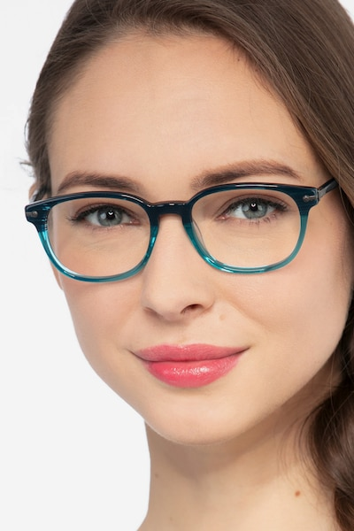 Nova Blue Striped Acetate Eyeglass Frames for Women from EyeBuyDirect