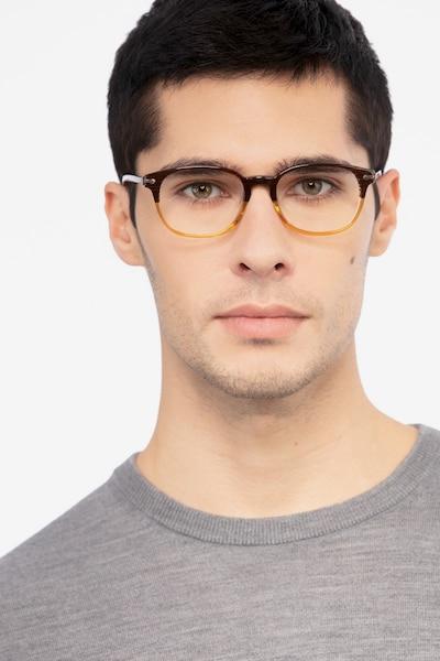 Nova Brown Striped Acétate Montures de Lunettes pour Hommes d'EyeBuyDirect