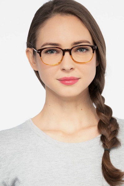 Nova Brown Striped Acetate Eyeglass Frames for Women from EyeBuyDirect, Front View
