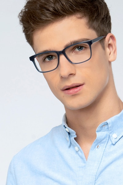 Prologue Blue Acetate Eyeglass Frames for Men from EyeBuyDirect, Front View