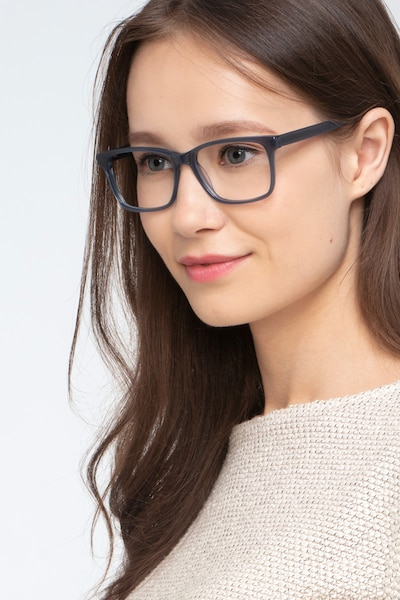 Prologue Blue Acetate Eyeglass Frames for Women from EyeBuyDirect, Front View