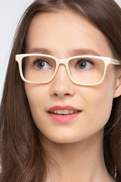 Prologue Cream Acetate Eyeglass Frames for Women from EyeBuyDirect