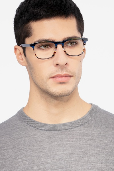 Prelude Blue Striped Acetate Eyeglass Frames for Men from EyeBuyDirect, Front View
