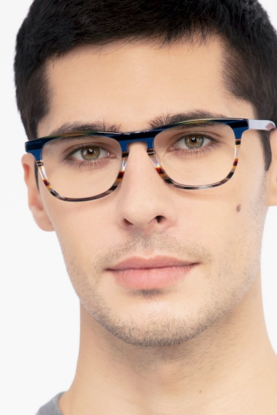 Prelude Blue Striped Acetate Eyeglass Frames for Men from EyeBuyDirect