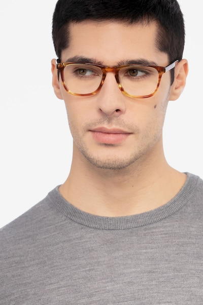 Prelude Brown Striped Acetate Eyeglass Frames for Men from EyeBuyDirect