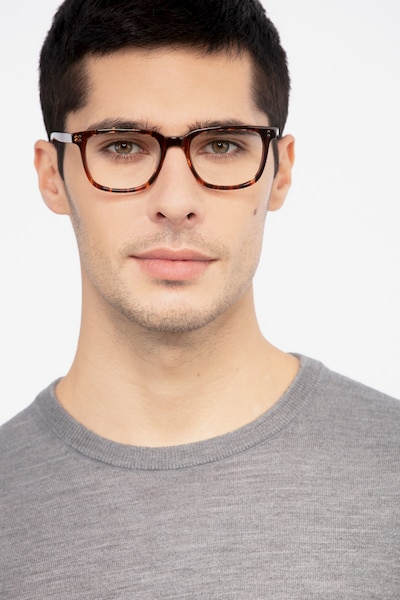 Kent Brown Striped Acetate Eyeglass Frames for Men from EyeBuyDirect, Front View