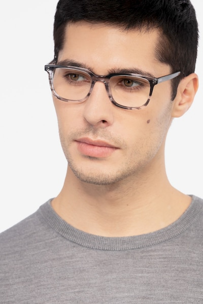 Kent Gray Striped Acetate Eyeglass Frames for Men from EyeBuyDirect, Front View