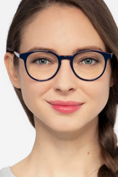 Lariat Navy Acetate Eyeglass Frames for Women from EyeBuyDirect