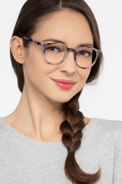 Lariat Striped Acetate Eyeglass Frames for Women from EyeBuyDirect, Front View