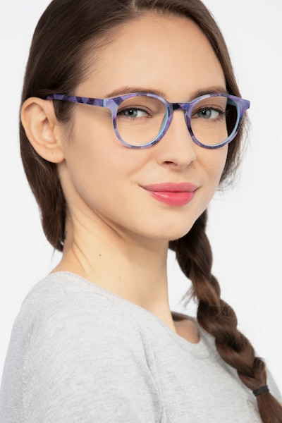 Lariat Purple Striped Acetate Eyeglass Frames for Women from EyeBuyDirect, Front View