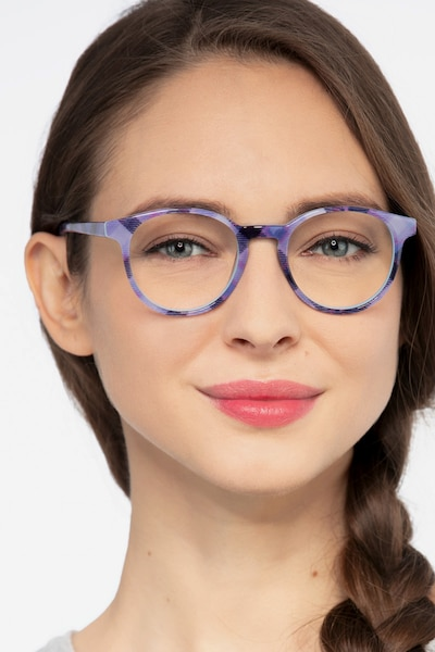 Lariat Purple Striped Acetate Eyeglass Frames for Women from EyeBuyDirect