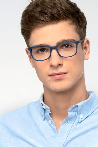 Botanist Navy Striped Acetate Eyeglass Frames for Men from EyeBuyDirect, Front View