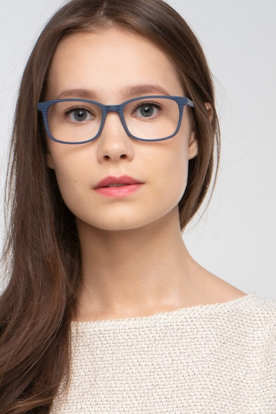 Botanist Navy Striped Acetate Eyeglass Frames for Women from EyeBuyDirect, Front View