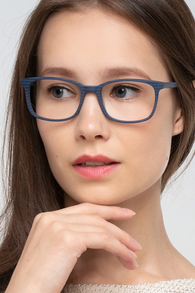 Botanist Navy Striped Acetate Eyeglass Frames for Women from EyeBuyDirect