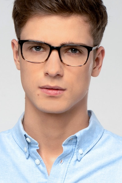Botanist Gray Brown Acetate Eyeglass Frames for Men from EyeBuyDirect, Front View