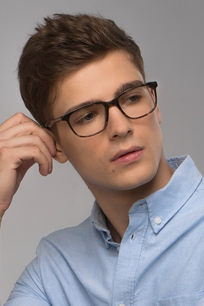 Bristol Gray Floral Acetate Eyeglass Frames for Men from EyeBuyDirect, Front View