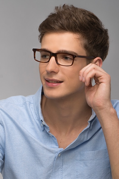 Mandi Brown Striped Acetate Eyeglass Frames for Men from EyeBuyDirect, Front View