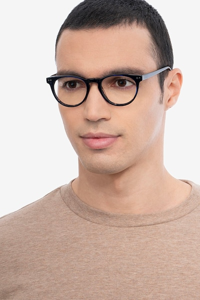 Notting Hill Blue Floral Acetate Eyeglass Frames for Men from EyeBuyDirect, Front View