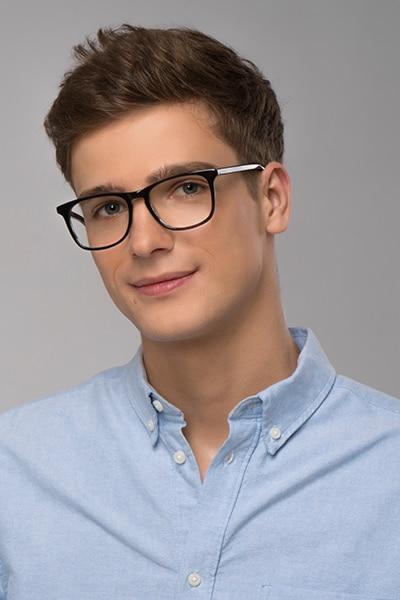 Skyline Black Gray Acetate Eyeglass Frames for Men from EyeBuyDirect, Front View