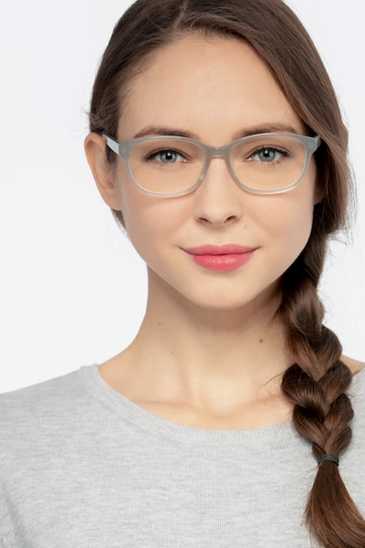 Lyle Gray Acetate Eyeglass Frames for Women from EyeBuyDirect, Front View