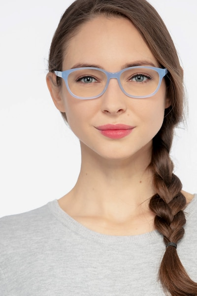 Lyle Blue Acetate Eyeglass Frames for Women from EyeBuyDirect, Front View