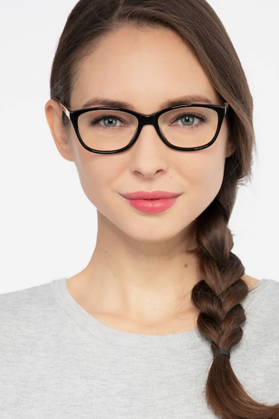 Masque Black Acetate Eyeglass Frames for Women from EyeBuyDirect, Front View
