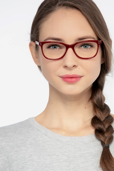Prodigy Burgundy Acetate Eyeglass Frames for Women from EyeBuyDirect, Front View