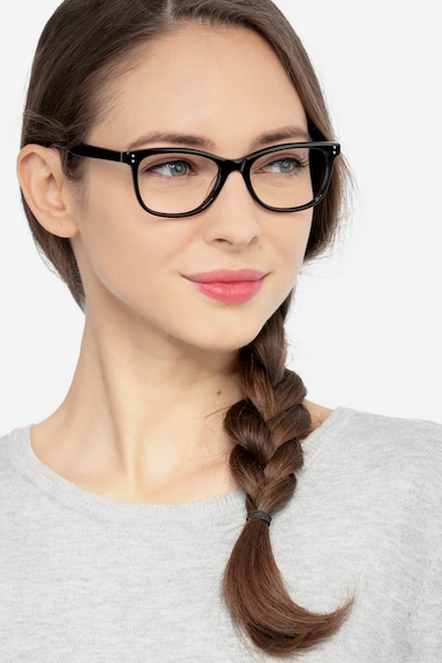 Prodigy Black Acetate Eyeglass Frames for Women from EyeBuyDirect, Front View