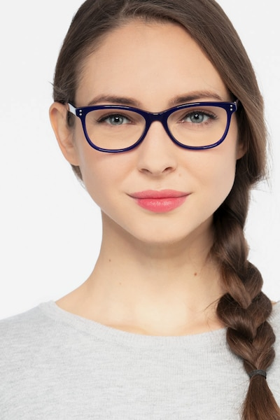 Prodigy Blue Acetate Eyeglass Frames for Women from EyeBuyDirect, Front View