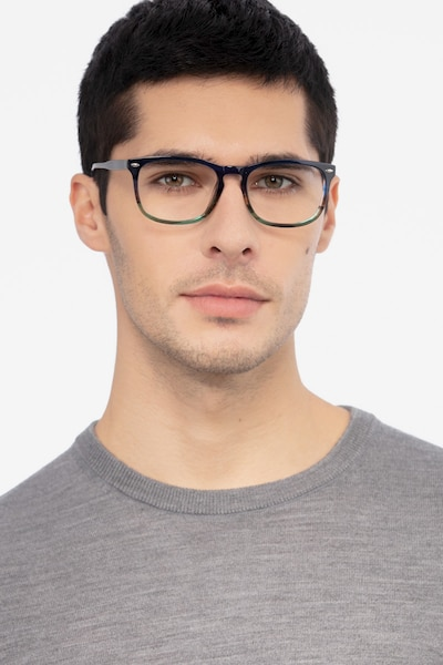 Costello Blue Striped Acetate Eyeglass Frames for Men from EyeBuyDirect, Front View