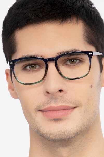 Costello Blue Striped Acetate Eyeglass Frames for Men from EyeBuyDirect