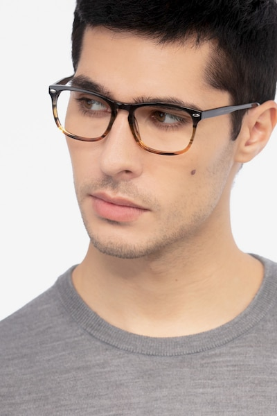 Costello Brown Striped Acetate Eyeglass Frames for Men from EyeBuyDirect, Front View