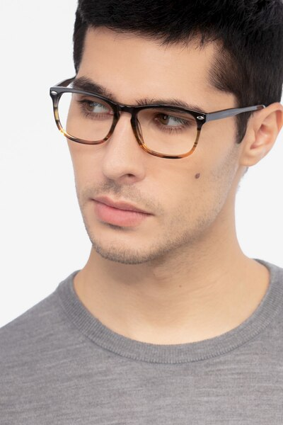 Costello Brown Striped Acetate Eyeglass Frames for Men from EyeBuyDirect