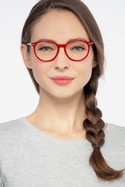 Blink Red Acetate Eyeglass Frames for Women from EyeBuyDirect, Front View