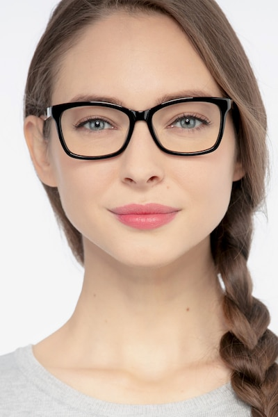 Mode Black Acetate Eyeglass Frames for Women from EyeBuyDirect