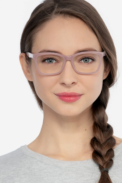 Mode Matte Pink Acetate Eyeglass Frames for Women from EyeBuyDirect, Front View