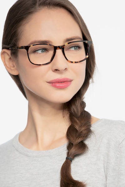 Emblem Tortoise Acetate Eyeglass Frames for Women from EyeBuyDirect, Front View