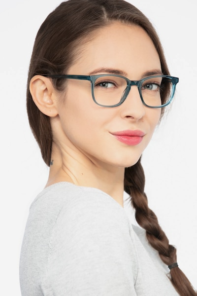 Emblem Blue Acetate Eyeglass Frames for Women from EyeBuyDirect, Front View
