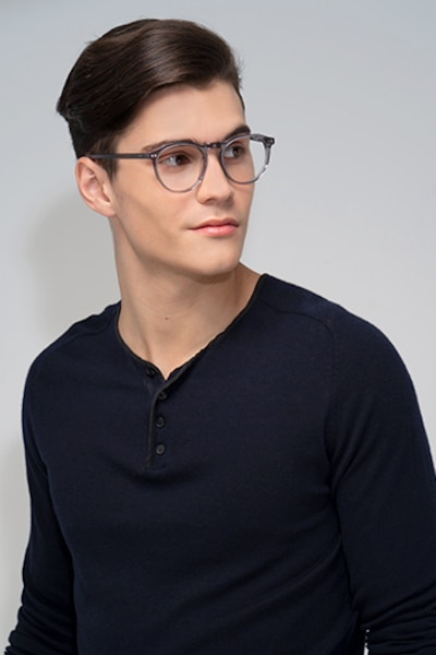 Planete Gray Clear  Acetate Eyeglass Frames for Men from EyeBuyDirect, Front View