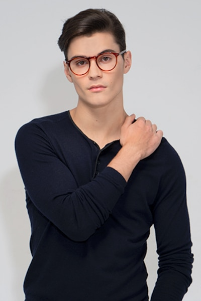 Planete Brown Tortoise Acetate Eyeglass Frames for Men from EyeBuyDirect, Front View