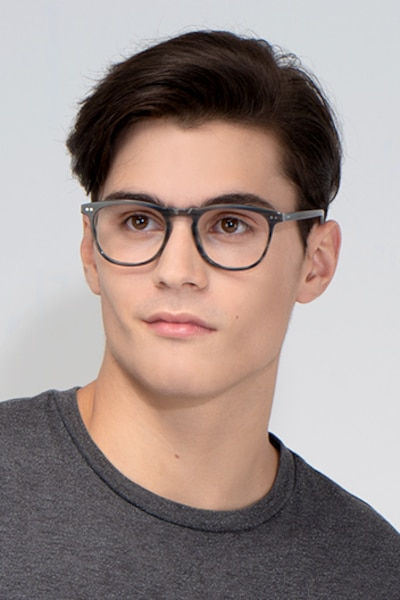 Illusion Gray Striped Acetate Eyeglass Frames for Men from EyeBuyDirect