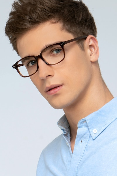 Sway Brown Tortoise Acetate Eyeglass Frames for Men from EyeBuyDirect, Front View
